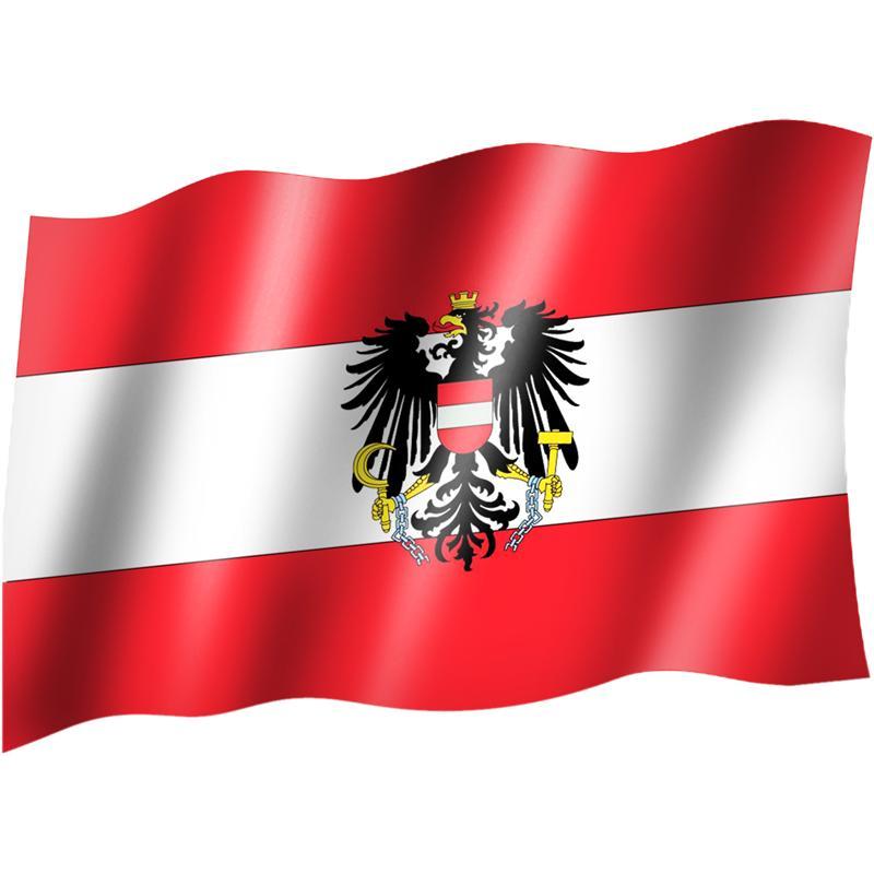 Flaggefahnenationalflagge Mit ösen österreich Mit Wappen Gute